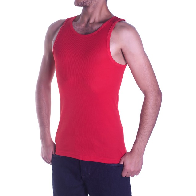 Men's 100% Cotton Ribbed Tank Tops - Assorted Colors