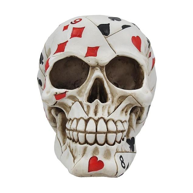 Playing Card Poker Skull Figure Head Sculptures