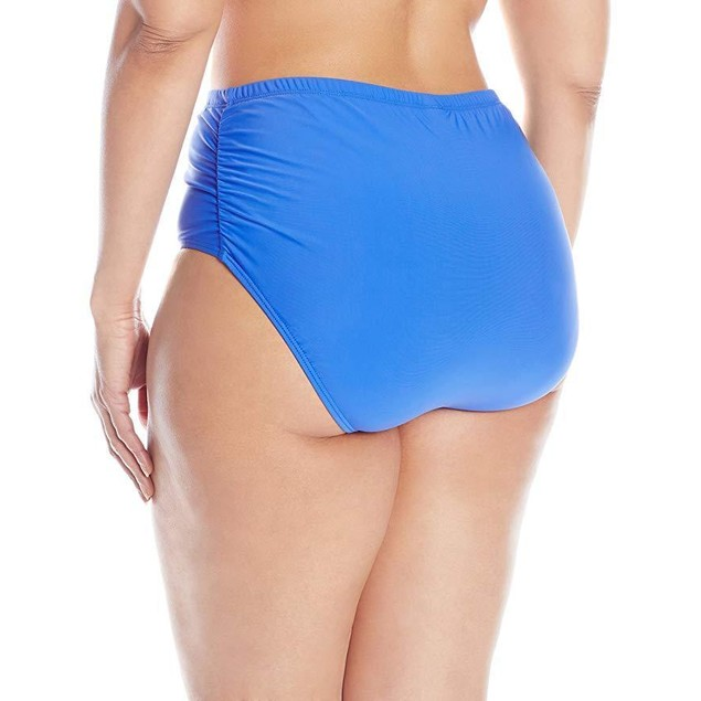 Athena Women's Plus-Size Solid Mid Waist Side Bikini Bottom, Deep Blue