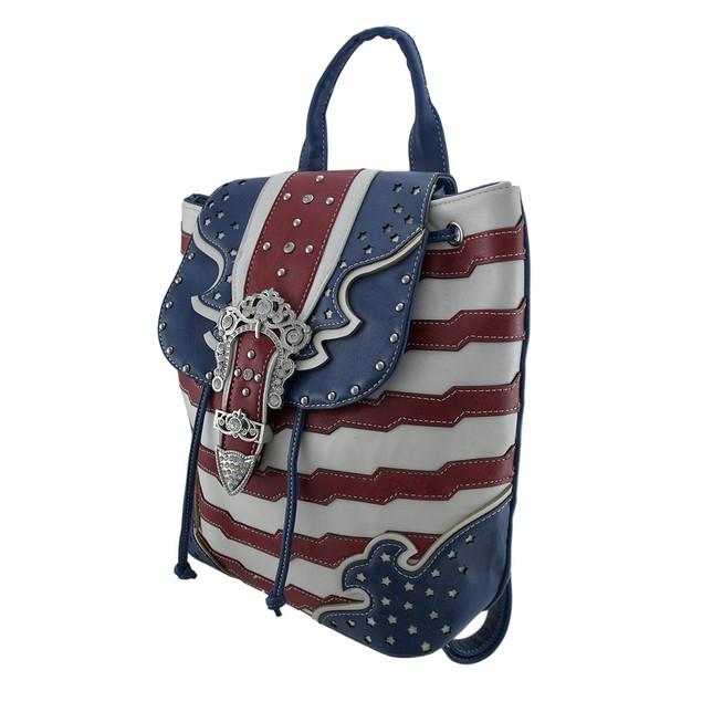 American Flag Rhinestone Buckle Western Style Basic Multipurpose Backpacks