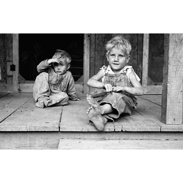 Arkansas: Children, 1935. /Nsharecropper'S Children Seated On The Porch Of