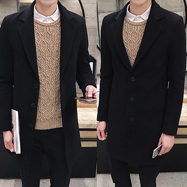 Men Formal Single Breasted Figuring Overcoat Long Wool Jacket Outwear