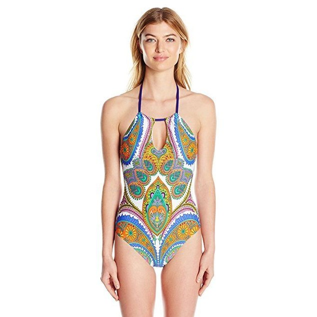 Trina Turk Women's Pacific Paisley High Neck One Piece Sz: 10
