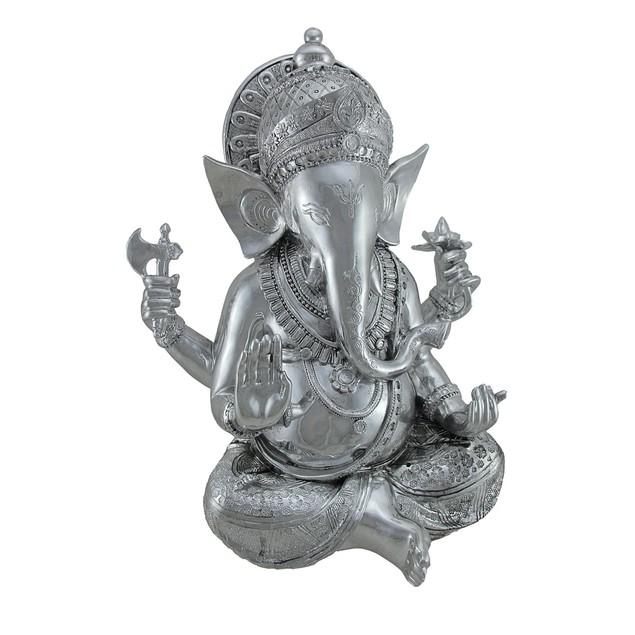 Hindu God Lord Ganesha Chrome Finish Statue 15 In. Statues