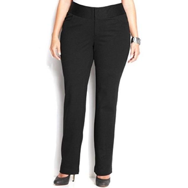 INC Womens Plus Straight Leg Flat Front Dress Pants Black 24W