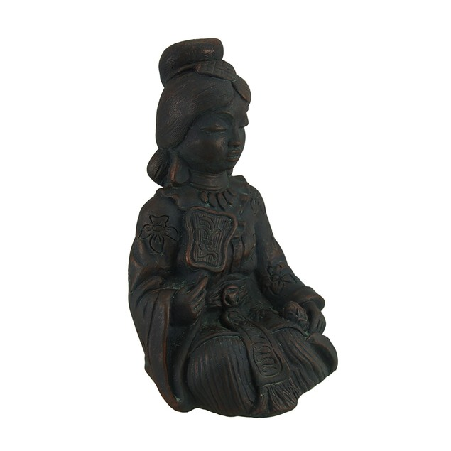 Relaxing Asian Woman Decorative Antique Bronze Statues