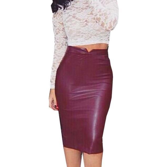 Women Leather Skirt High Waist Slim Party Pencil Skirt