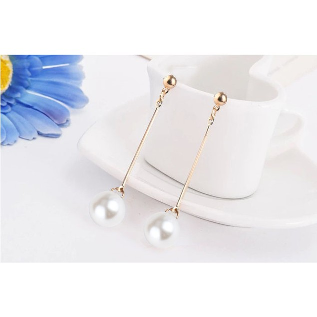 Fashion OL Womens Imitation Pearl Ear Stud Pearl Long Dangle Earring