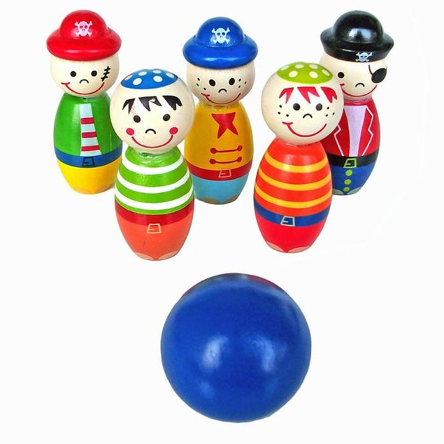 Toys Wooden Bowling Ball Skittle Funny Shape for Kids Game