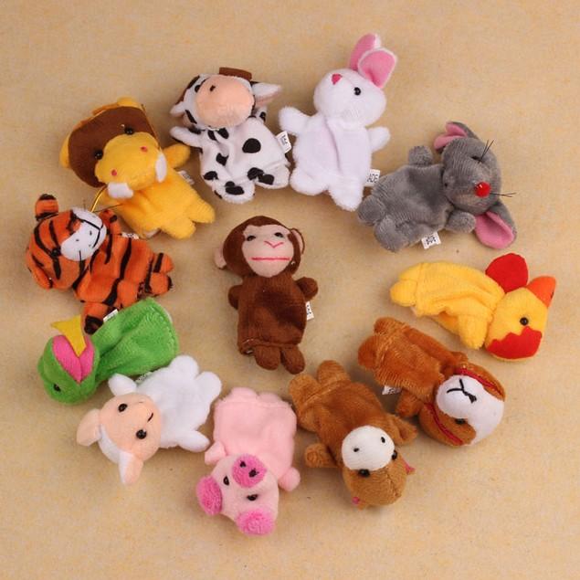 12Pcs Chinese Zodiac Soft Animal Puppet Finger Toys Plush Toys