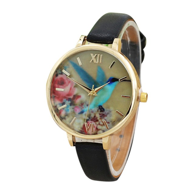 Blue Hummingbird Women Leather Band Analog Quartz Movement Wrist Watch