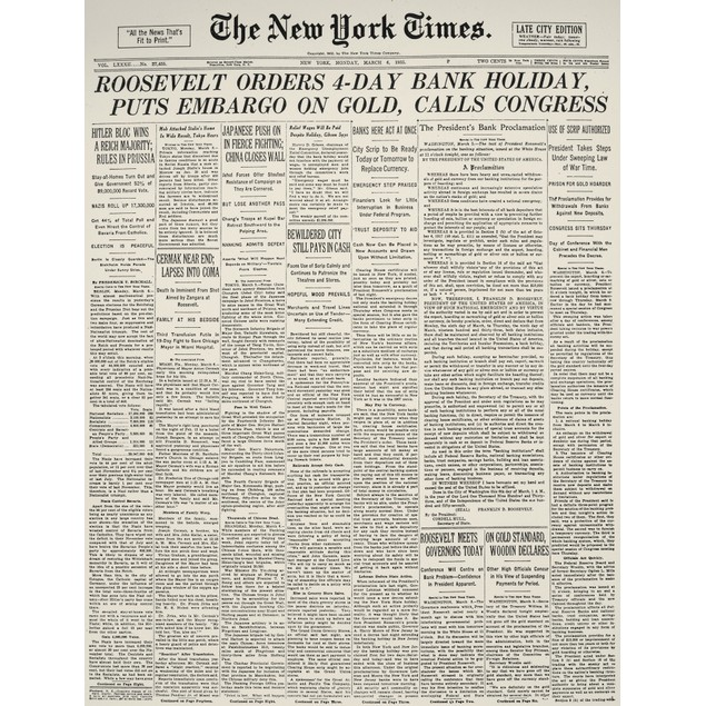 Gold Embargo, 1933. /Nfront Page Of The New York 'Times,' 6 March 1933, Ann