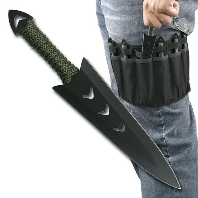 "6PC 6"" Black Throwing Knife Set with Leg Sheath"