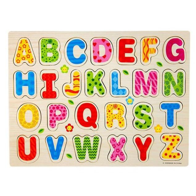 26pcs Wood Alphabet English Letters Puzzle Jigsaw Educational Toy