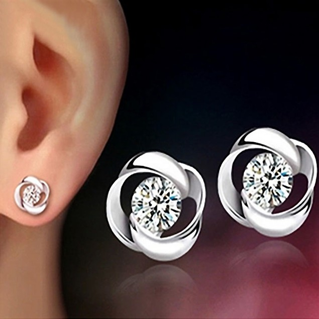 Crystal Shiny Ear Stud Earrings for Women