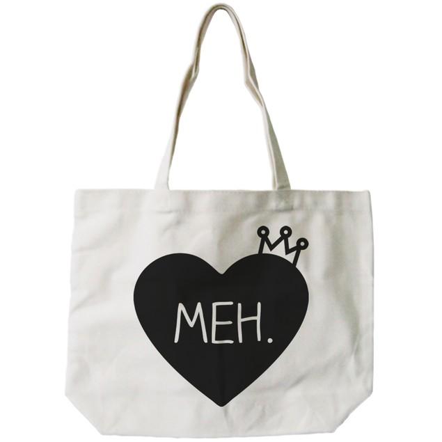 "Women's Natural Canvas Tote Bag- Cute ""Meh."" Princess Crown- 18x14inches"