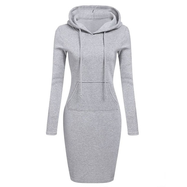 Women's Long Sleeve Cotton Slim Fit Hoodie Dress with Pocket
