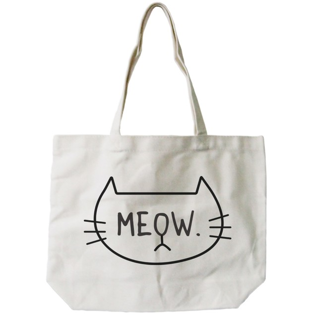 Meow Cat Face Canvas Tote Bag