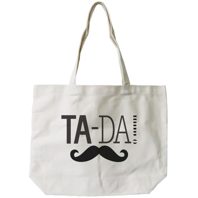 Ta-da! Mustache Canvas Tote Bag