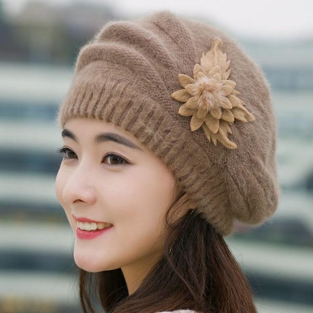 Fashion Womens Flower Knit Crochet Beanie Hat Winter Warm Cap Beret
