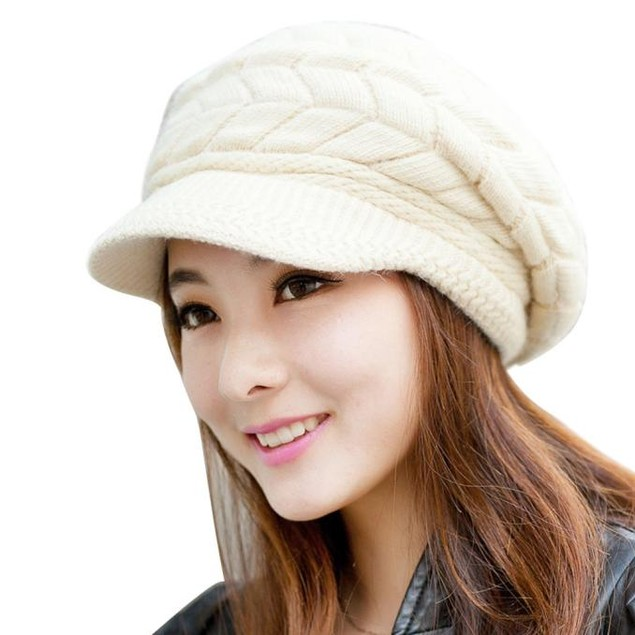 Women Hat Winter Skullies Beanies Knitted Hats Rabbit Fur Cap
