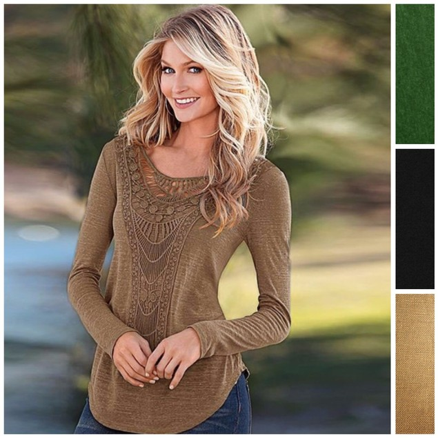 Crochet Scoop Neck Boho Chic Top - Assorted Colors