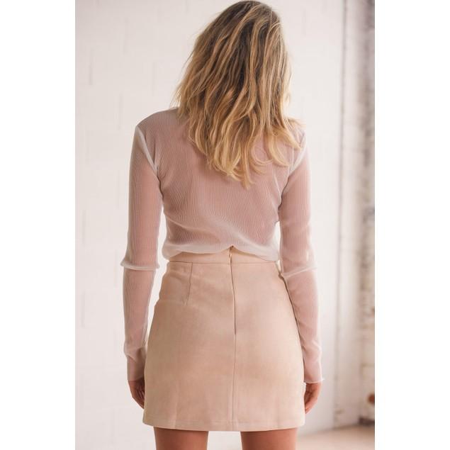 Women Bandage Suede Fabric Skirt Slim Seamless Tight Short  Skirt