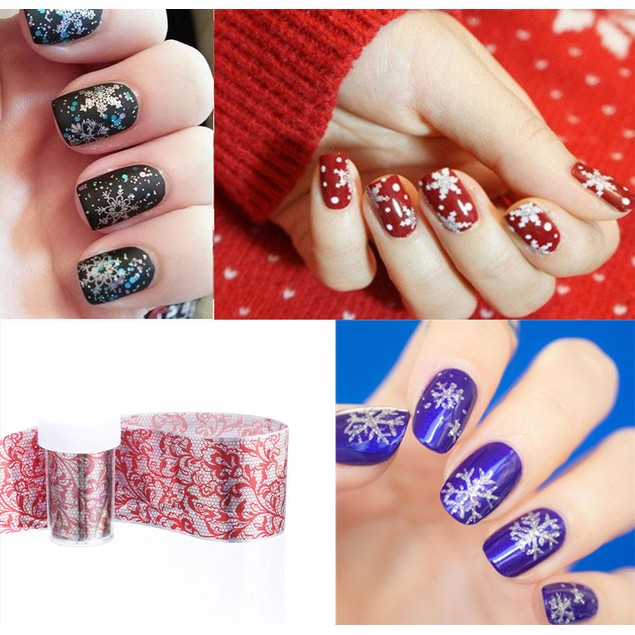 Holographic Nail Art Transfer Blades of Black Lace Flowers Nails Sheet