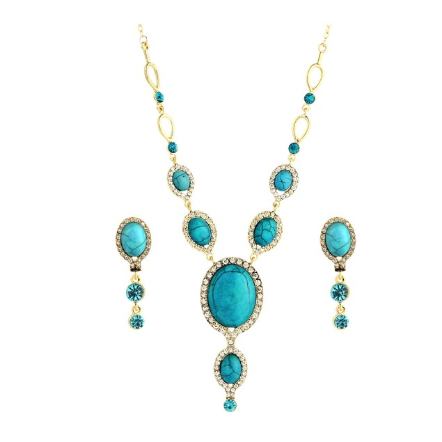Novadab Egyptian Blue Nile Statement Neckpiece With Earring