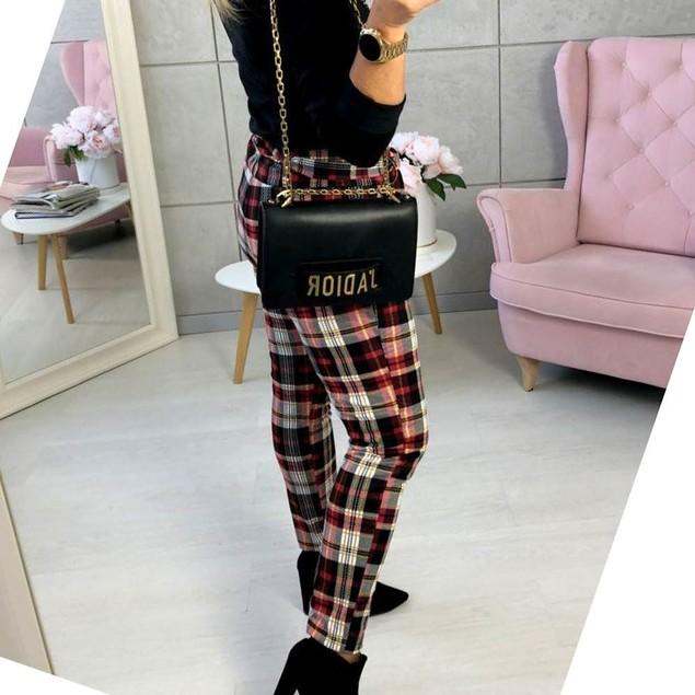 Women's Plaid Print Slim Pants