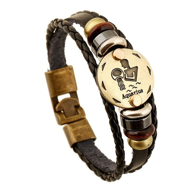 Florence Scovel- Zodiac Signs Black Gallstone Leather Bracelet