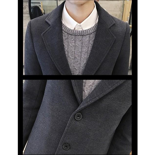 Men Formal Single Breasted Figuring Overcoat Long Wool Jacket Outwear