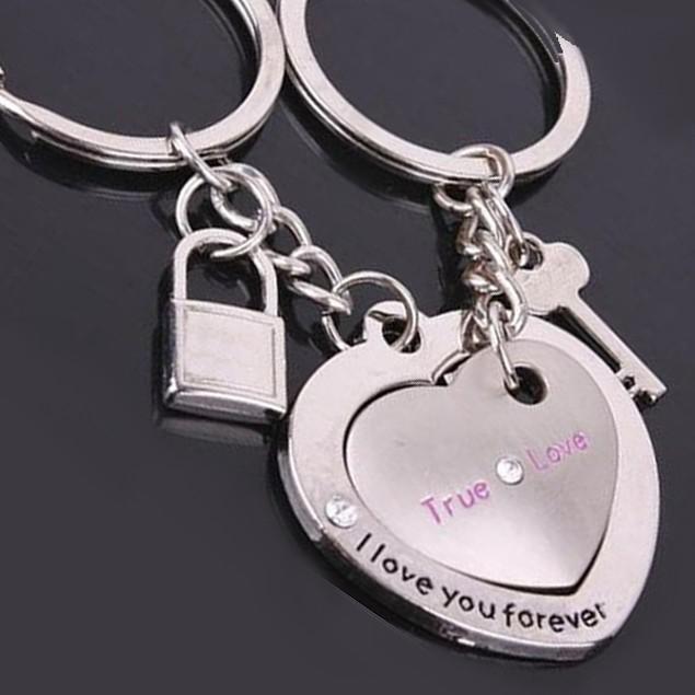 Couple's Key & Lock Keychain Set