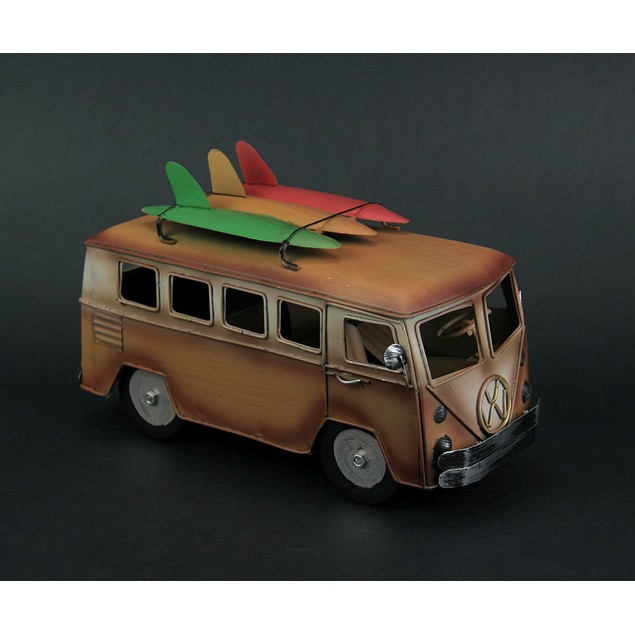 Orange And White 60S Style Beach Bus With Statues