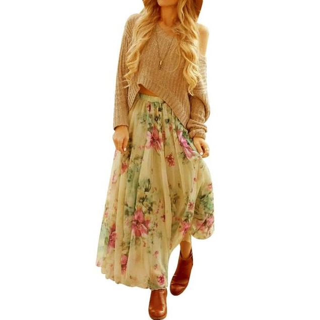 Women Chiffon Pleated Long Maxi Boho Dress Elastic Waist Skirt