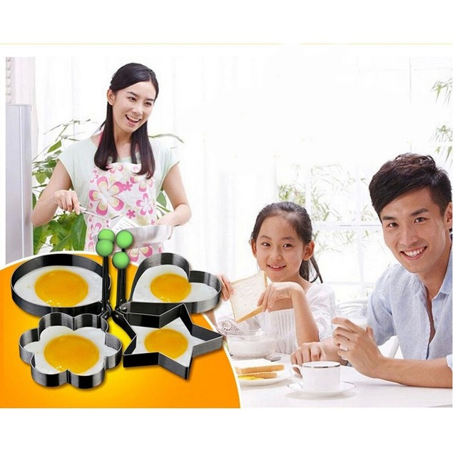 4PC Thick Stainless Steel Omelette Mold Control Rice Omelette Mold  cute