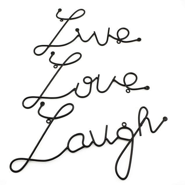 3 Pcs Set Live Love Laugh Metal Hanging Wall Wird