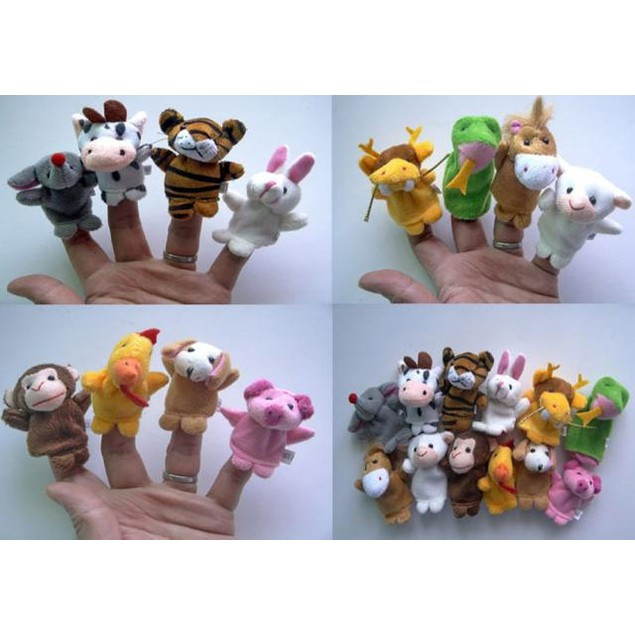 12pcs  Animal Finger Puppet Plush Child Baby Early Education Toys Gift
