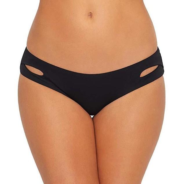 Becca by Rebecca Virtue Women's Tab Side Hipster Bikini Bottom Black S