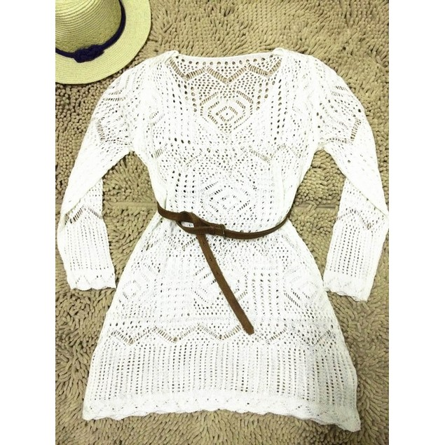 Sexy Women Hollow Out White Lace Dress Beach Party Dresses With Belt