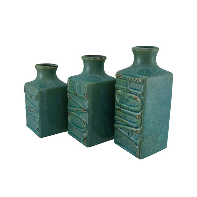 Set Of 3 Blue Crackle Finish Live Laugh And Love Decorative Vases