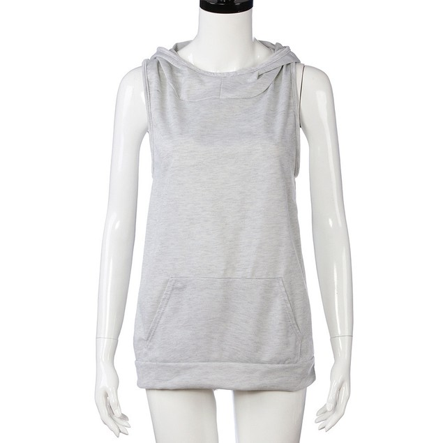 Women Hooded Loose Pullover Sleeveless Backless Overlapping Hoodie Tops