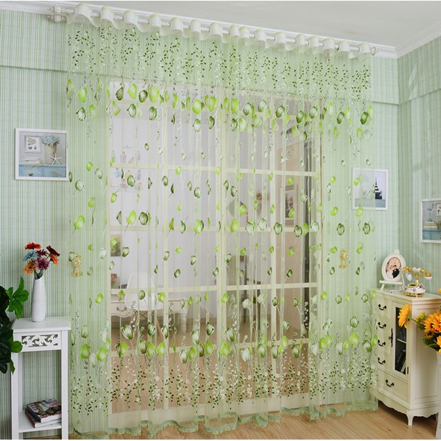 Flower Tulle Window Screens Door Balcony Curtain Panel Sheer Scarfs