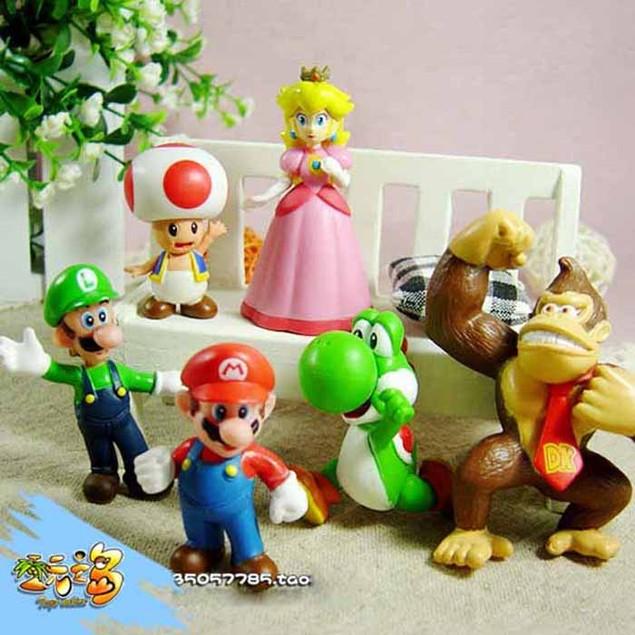 6pcs Brand Mini Super Mario Bros 1.5~2.5' Action Figures Doll Toy