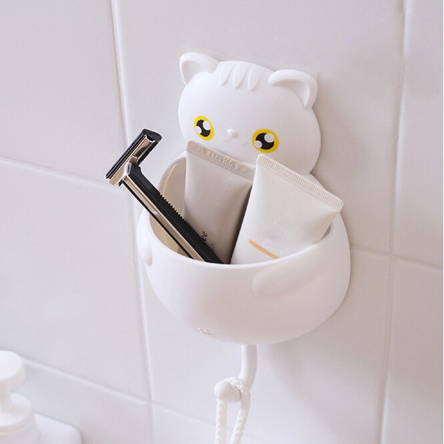 Cute Cartoon Sucker Hook Toothbrush Holder Cute Cats Bathroom Tool
