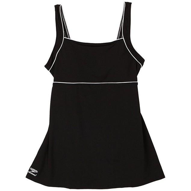 Speedo Women's Aquatic Endurance+ Piped Sheath Dress Swimsuit,Black SZ