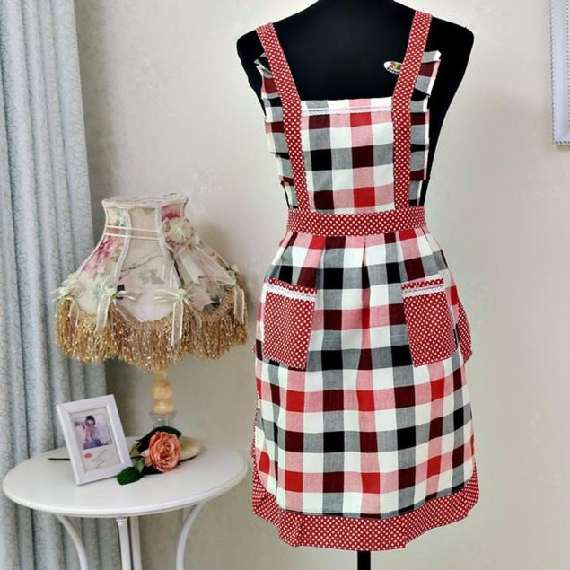 1pc Home Kitchen Cooking Cotton Apron Bib With Pocket  For Women