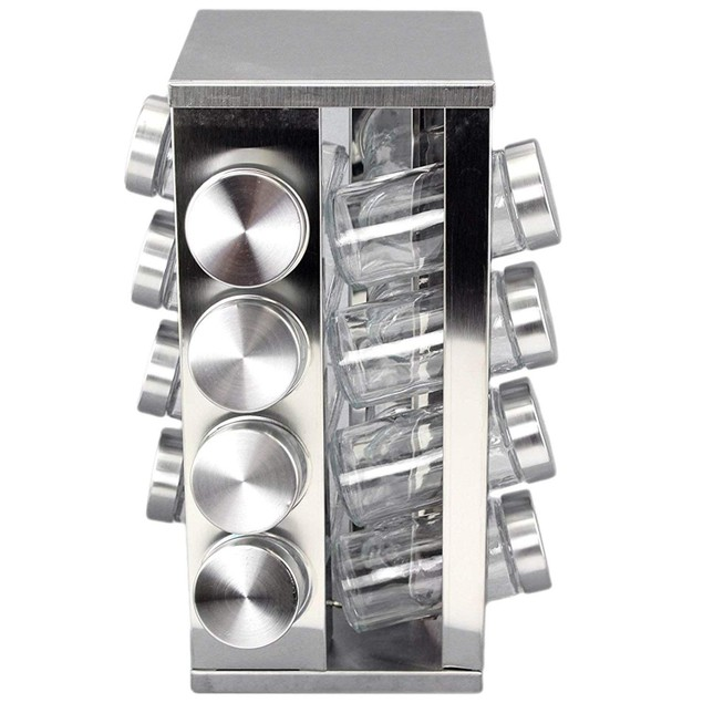 Steel Spice Rack Round or Square Revolving Stainless 16 Spice