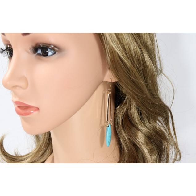 Bohemian style turquoise dangle earrings
