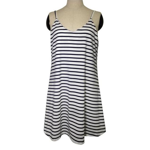 Women Sleeveless Striped Loose Mini Dress Beach Party Casual Sundress